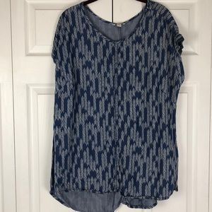 Cato Blue and White Patterned Blouse